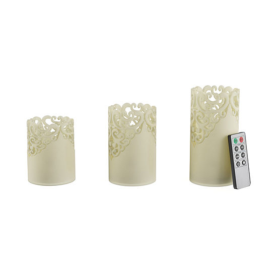 Lavish Home Lace Detailed 3-pc. Flameless Candle