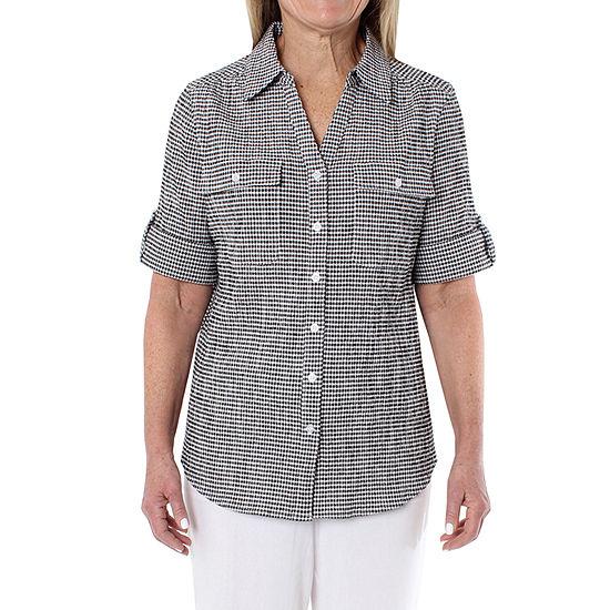 Cathy Daniels Sheeting Womens 3/4 Sleeve Camp Shirt