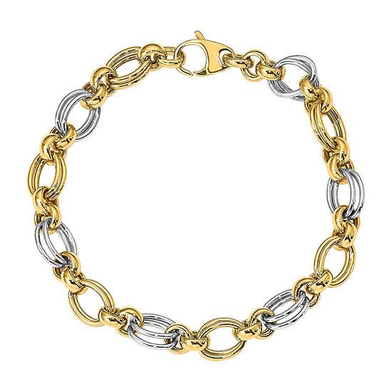 14K Two Tone Gold 7.5 Inch Hollow Link Bracelet