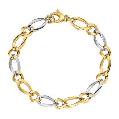 14K Two Tone Gold 7.25 Inch Link Bracelet