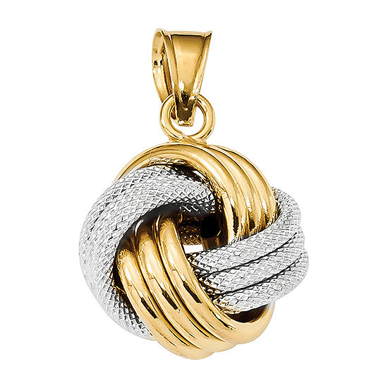Womens 14K Two Tone Gold Knot Pendant
