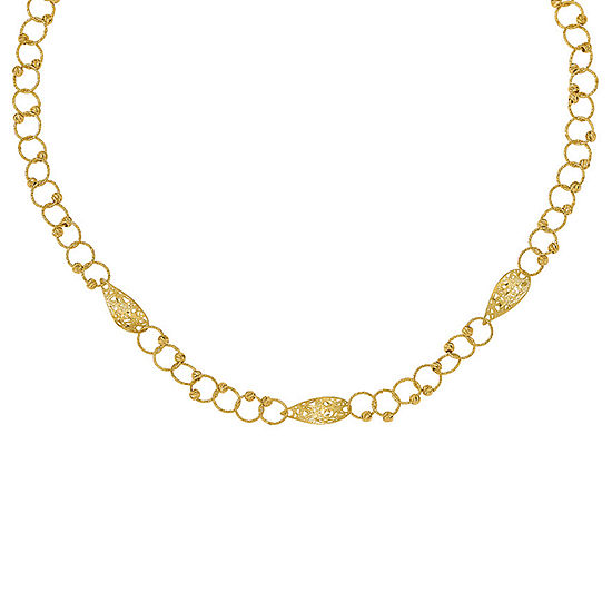Womens 16 1/2 Inch 14K Gold Link Necklace