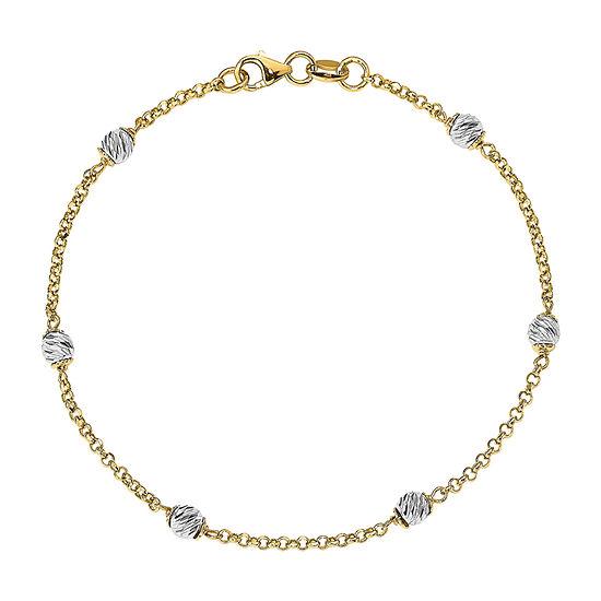 14K Two Tone Gold Beaded Bracelet