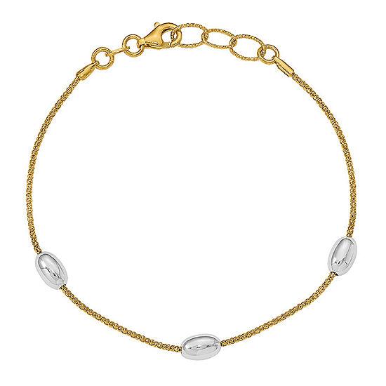 14K Two Tone Gold Oval Beaded Bracelet