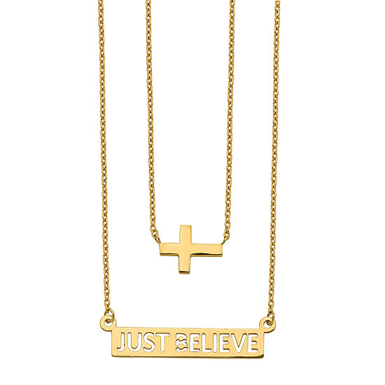 Womens 14K Gold Cross Strand Necklace