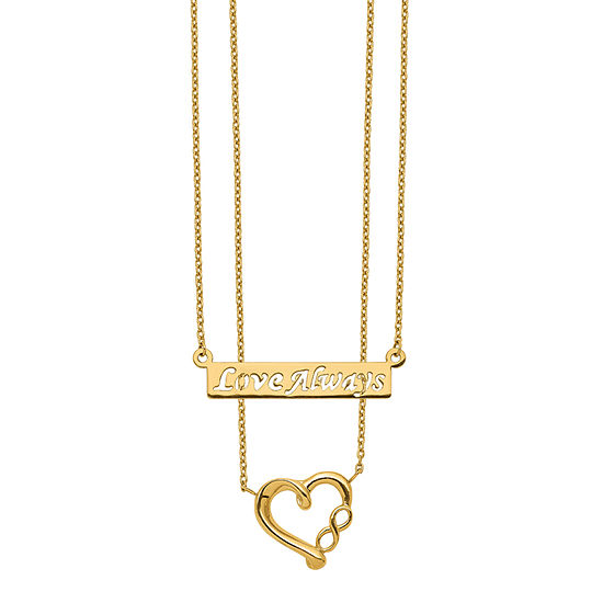 Womens 14K Gold Heart Strand Necklace