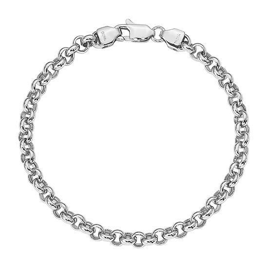 14K White Gold 7.5 Inch Hollow Link Bracelet