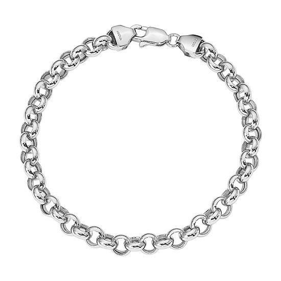 14k White Gold 75 Inch Hollow Link Bracelet