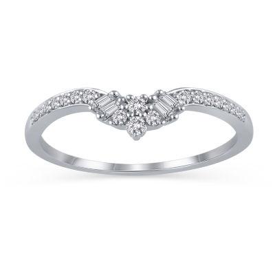 Womens 1/5 CT. T.W. White Diamond 10K White Gold Ring Enhancer