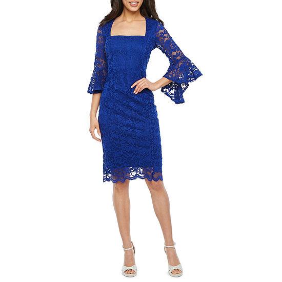 Blu Sage 3/4 Bell Sleeve Lace Sheath Dress