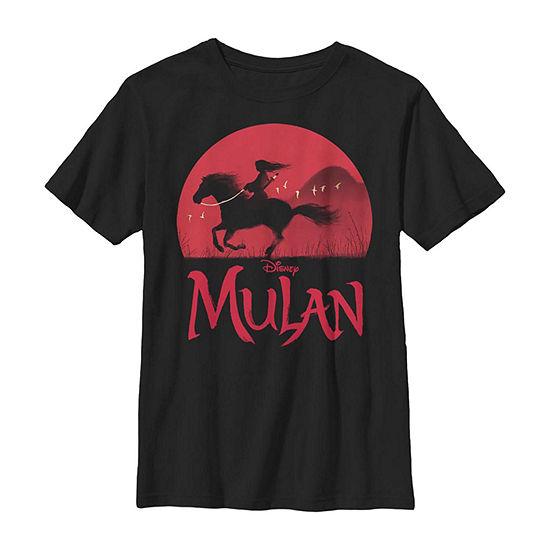 Red Sunset Silhouette Little /Big Kid Boys Short Sleeve Mulan T-Shirt