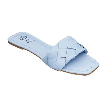 Shoes Womens Claudine Flat Sandals, 7 Medium, Blue