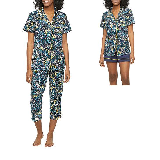 Liz Claiborne Womens 3-pc. Capri Pajama Set Short Sleeve