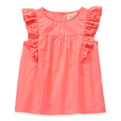 Thereabouts Toddler Girls Crew Neck Sleeveless Blouse