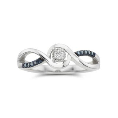 1/10 CT. T.W. Blue & White Diamond Promise Ring