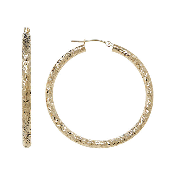 Infinite Gold™ 14K Yellow Gold Crystal-Cut Hollow Hoop Earrings