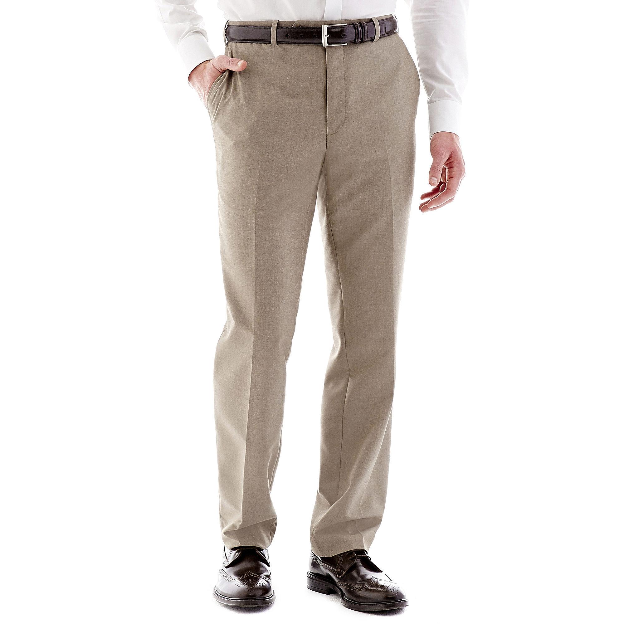 Adolfo Tan Flat-Front Suit Pants - Slim plus size,  plus size fashion plus size appare