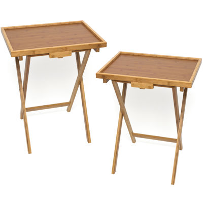 Bamboo Snack Set of 2 TV Tray Tables with Lip  sc 1 st  JCPenney & Set of 2 Bamboo Snack TV Tray Tables with Lip