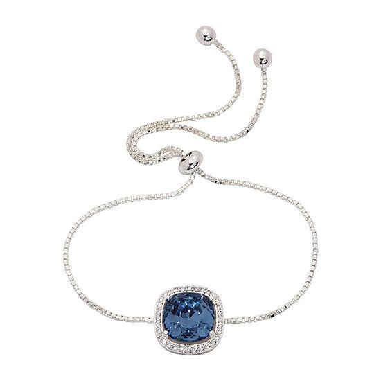 Sparkle Allure Blue Pure Silver Over Brass 9 Inch Box Bolo Bracelet