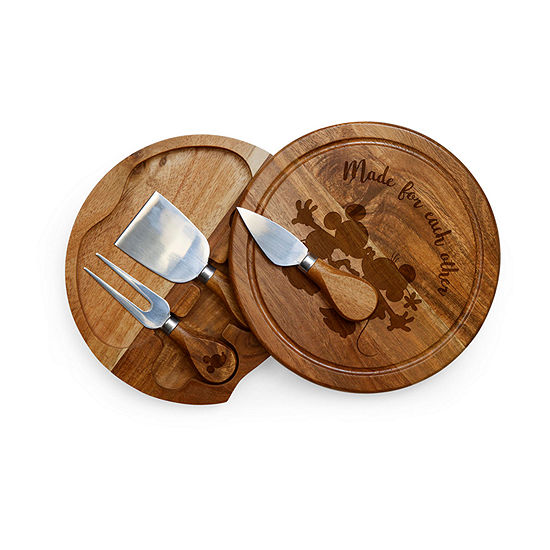 Picnic Time Brie Acacia-Mickey And Minnie Sihoutte 4-pc. Cheese Board Set