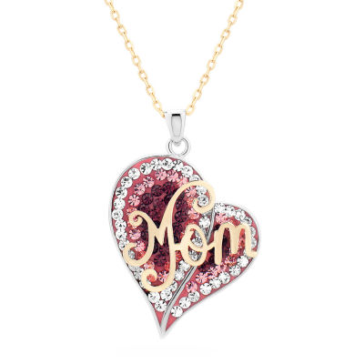 Womens Multi Color Crystal Heart Pendant Necklace