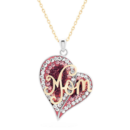 """""""Mom"""" Womens Multi Color Crystal 18K Gold Over Silver Sterling Silver Heart Pendant Necklace"""