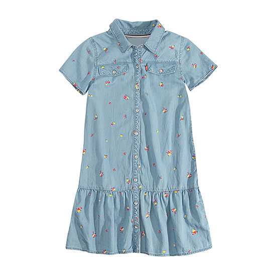 Levi's Girls Short Sleeve Drop Waist Dress - Big Kid