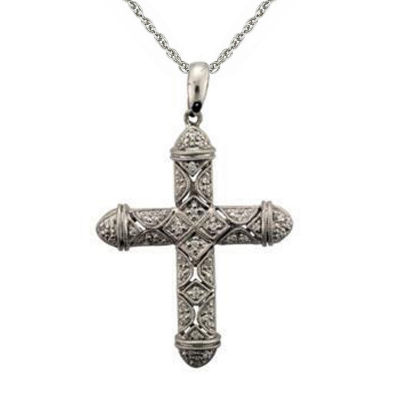 Womens 1/3 CT. T.W. Genuine White Diamond Cross Pendant Necklace