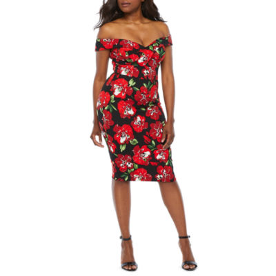 Premier Amour Off The Shoulder Floral Sheath Dress