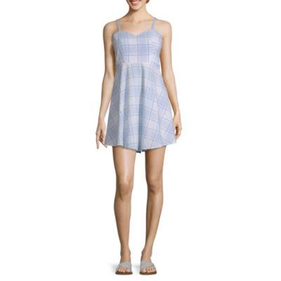 Arizona Sleeveless Plaid Fit & Flare Dress-Juniors