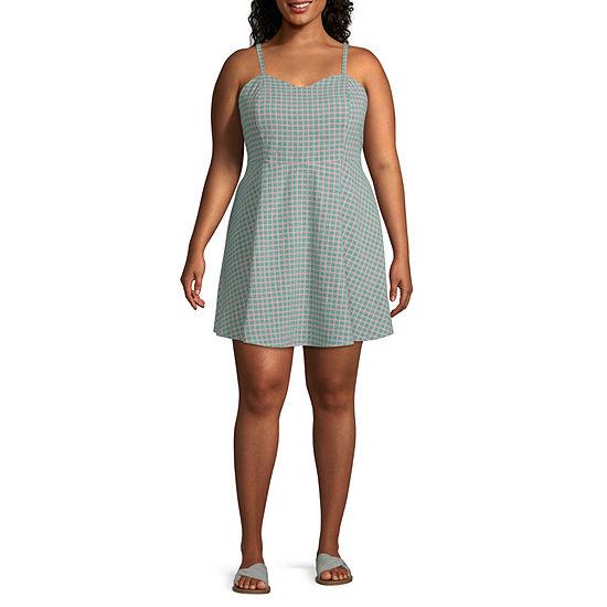 Arizona Sleeveless Plaid Fit & Flare Dress-Juniors Plus