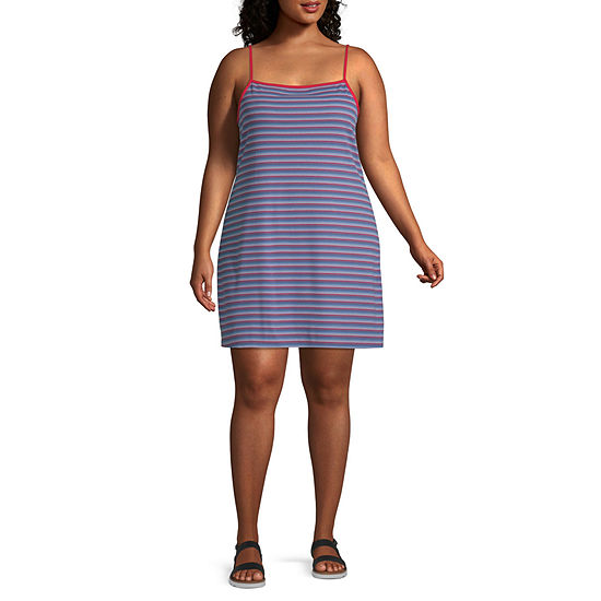 Arizona Sleeveless Striped Fit & Flare Dress-Juniors Plus