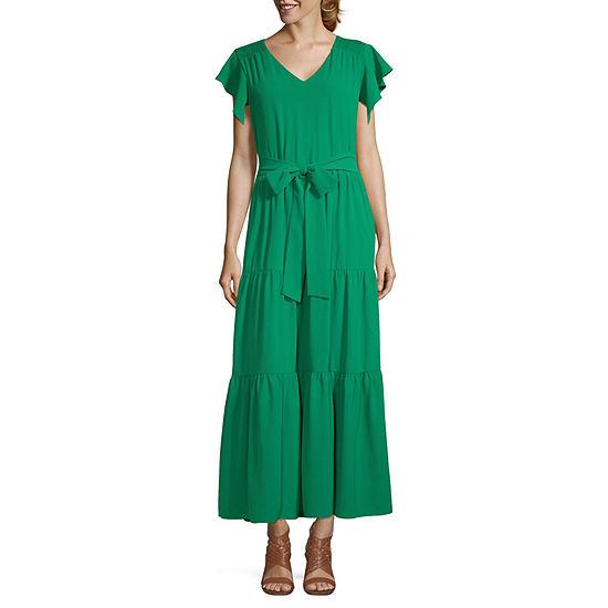 Weslee Rose Flutter Sleeve Maxi Dress