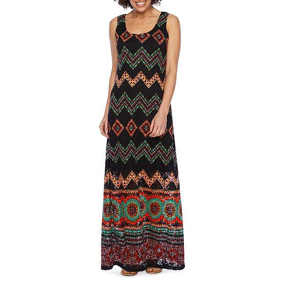 Ronni Nicole Sleeveless Chevron Maxi Dress