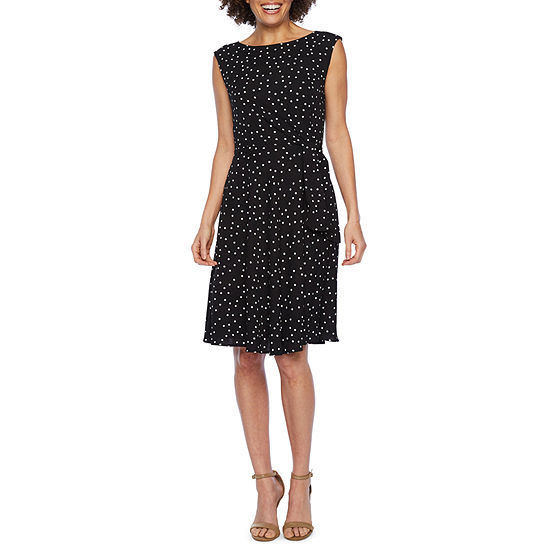 Chelsea Rose Sleeveless Polka Dot Fit & Flare Dress