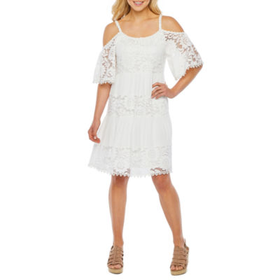 Robbie Bee Short Sleeve Lace Fit & Flare Dress
