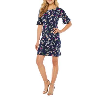 R & K Originals Short Bell Sleeve Floral Puff Print Shift Dress