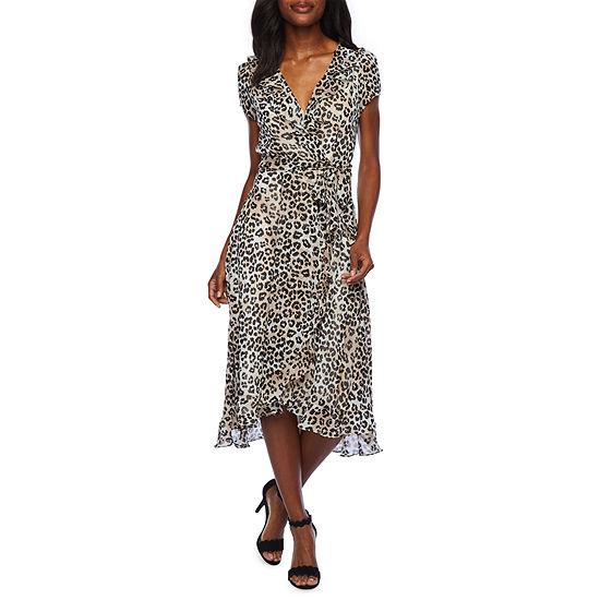 Danny & Nicole Short Sleeve Cheetah Fit & Flare Dress