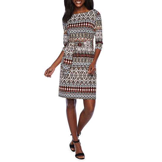 Studio 1 3 4 Sleeve Geo Puff Print Shift Dress