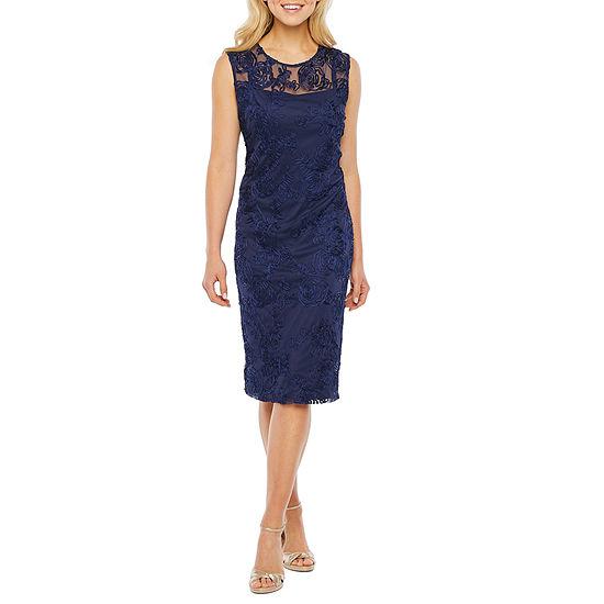 Onyx Sleeveless Embroidered Sheath Dress
