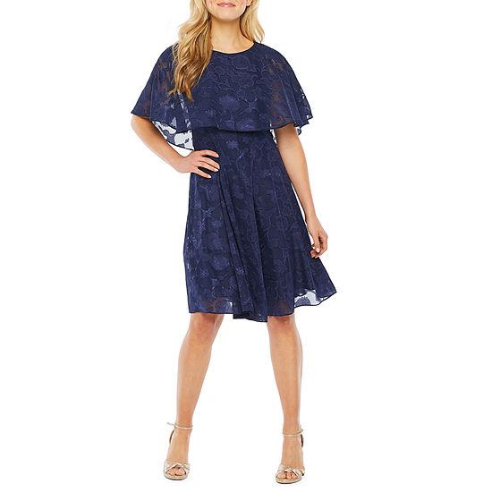 J Taylor Short Sleeve Floral Cape Fit & Flare Dress
