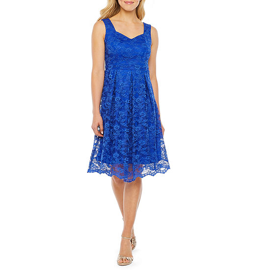 J Taylor Sleeveless Floral Lace Fit & Flare Dress