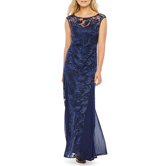 Onyx Cap Sleeve Embroidered Evening Gown