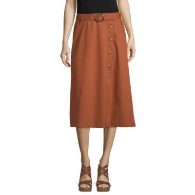 Worthington Womens Midi A-Line Skirt