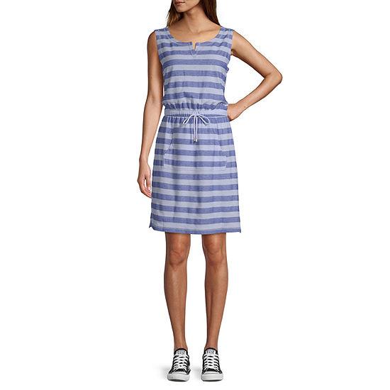 St. John's Bay Active Sleeveless Striped T-Shirt Dresses