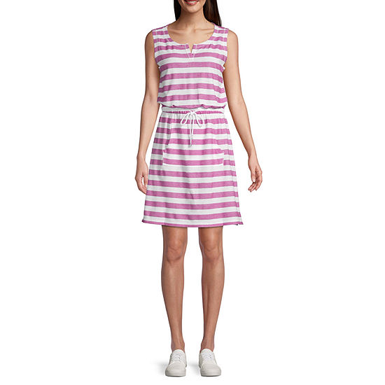 St. John's Bay Active Sleeveless Striped T-Shirt Dresses