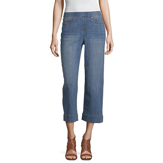 a.n.a Womens Mid Rise Wide Leg Stretch Cropped Jean