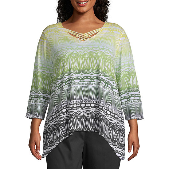 Cayman Islands Alfred Dunner Ethnic Biadere Top - Plus