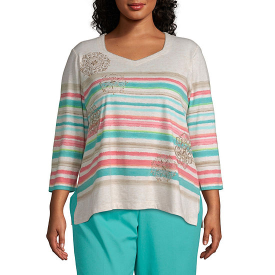 Coastal Drive Alfred Dunner Stripe Embroidery Top - Plus