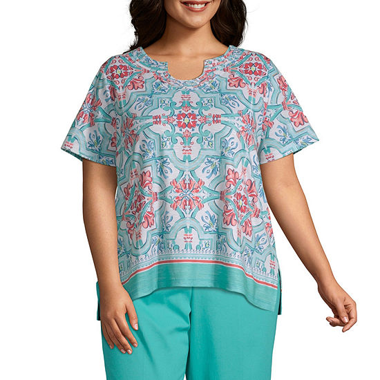 Coastal Drive Alfred Dunner Medallion Scroll Top - Plus